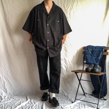 1990's~ super bigsize black open collor linen cotton S/S shirt