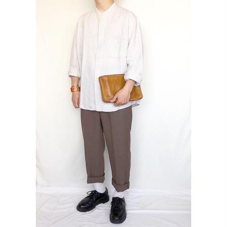 リネン バンドカラー 長袖シャツ / 古着 ビンテージ