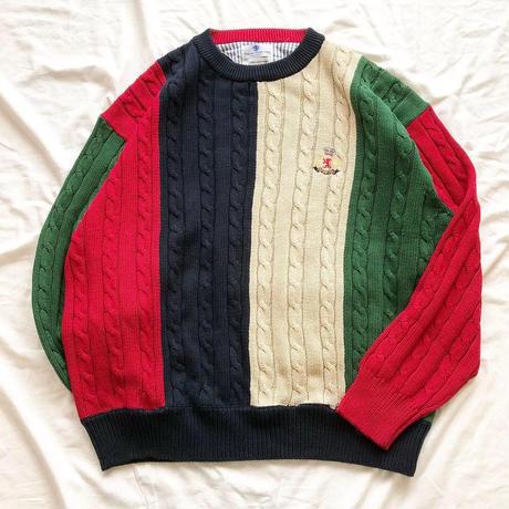クレイジーパターン コットン ケーブル編みセーター / 古着 ビンテージ