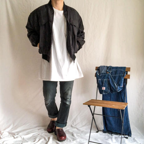 1990's~ black  design silk bomber jacket