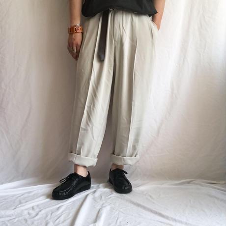 1990's~ bigsize light beige silk slacks