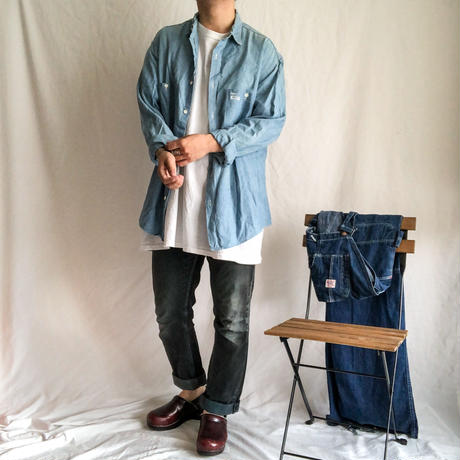 Vintage ~1960's L/S chambray shirt made in Italy