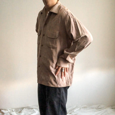 Vintage 1950's~ gray gabardine L/S shirt made in USA