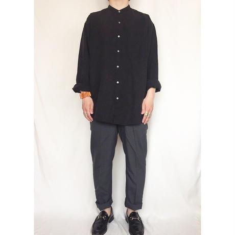 ブラック チェック柄 シルク バンドカラーシャツ / 古着 ビンテージ ノーカラー
