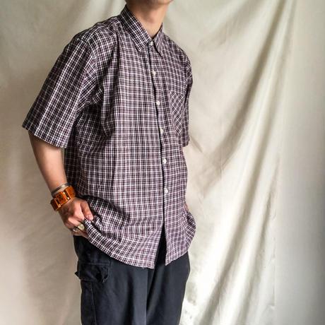 Vintage 1970's~1980's plaid pattern india cottton S/S shirt