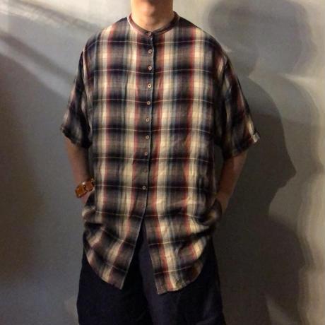 1990's~ シャドーチェック柄 レーヨン バンドカラーシャツ / 古着 ビンテージ