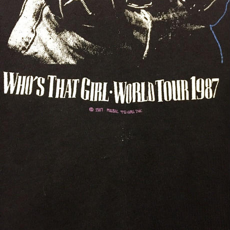 "Special Vintage 1980's MADONNA マドンナ ""WHO'S THAT GIRL WORLD TOUR"" 半袖Tシャツ / 古着 ビンテージ"