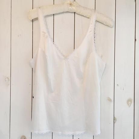 USA製 ホワイト リボン付き ランジェリーキャミソール/古着 ビンテージ