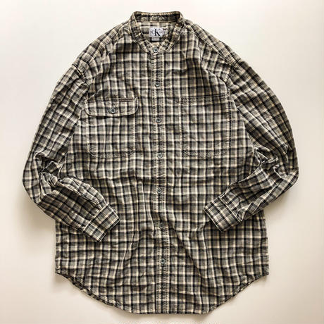 Calvin Klein plaid pattern band collor shirt