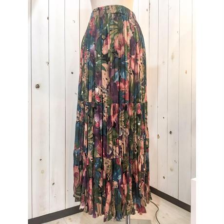 くすみカラー 花柄 ギャザー ボリューム スカート/古着 ビンテージ