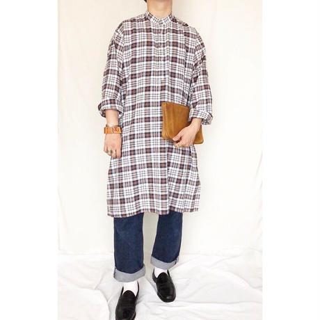 old チェック柄 バンドカラー グランパシャツ / 古着 ビンテージ