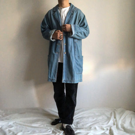 1990's~ light blue chestercoat design denim coat