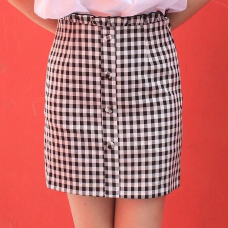 ギンガムチェック センターボタン スカート