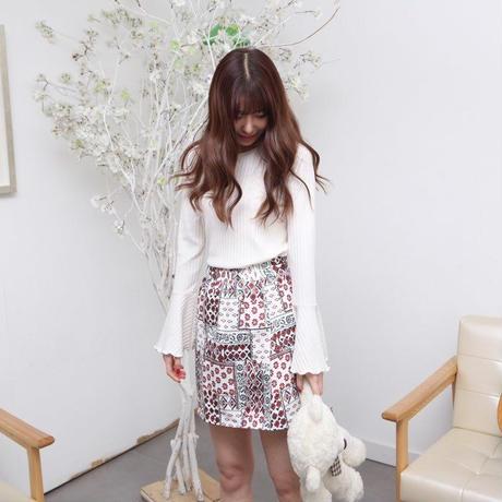 花柄フレアミニスカート