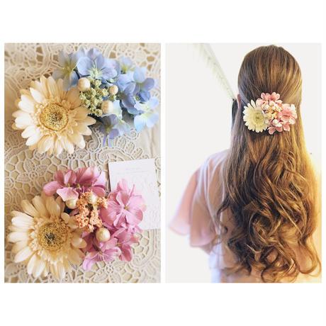 お花のバレッタ<ガーベラ,紫陽花,かすみ草>ピンク