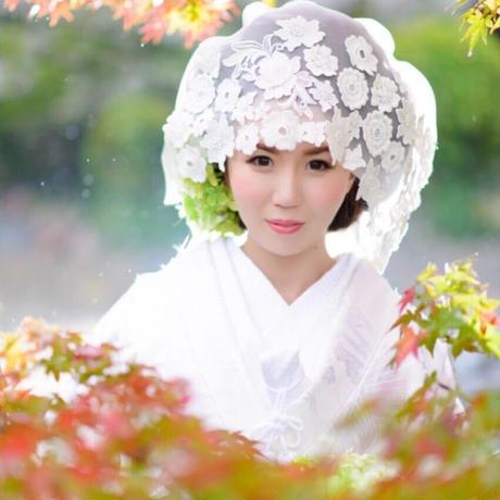 お花モチーフレース綿帽子