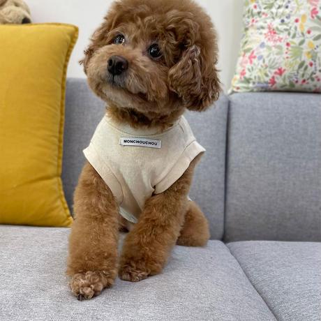 10yrs Young Dog Sleeveless Tee Beige