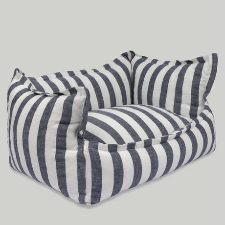 Gentle Navy Stripe Cushion  L  size