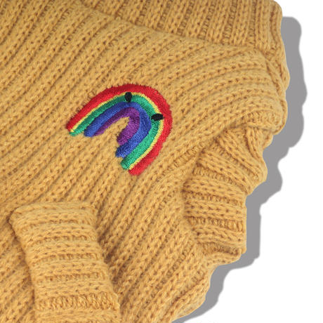 Rainbow Knit Cardigan_Amber Yellow