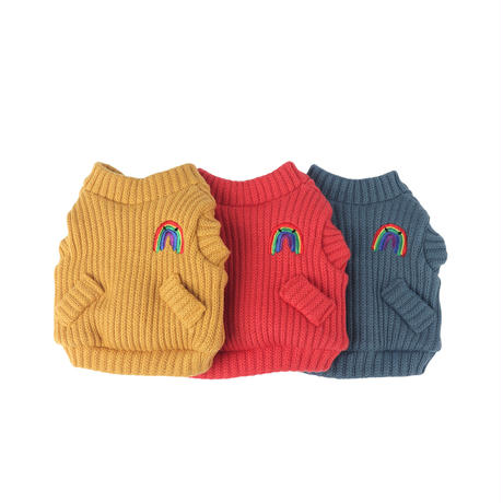 Rainbow Knit Cardigan_Indian Red