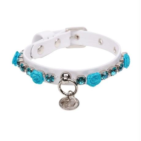 COLLAR  ''ROSE''  WHITE WITH TURQUOISE APPLICATION