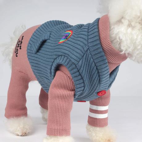 Rainbow Knit Cardigan_Teapot Blue