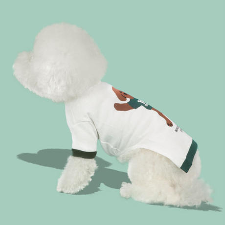 TEN YEARS YOUNG DOG Sleeve Tee  White
