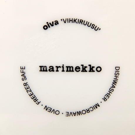 マリメッコ marimekko <Vihkiruusu>角プレート(グリーンライン)日本限定