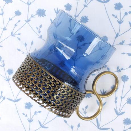 イッタラ Iittala ツァイッカ ホルダー付きグラス(ブルー×ゴールド)