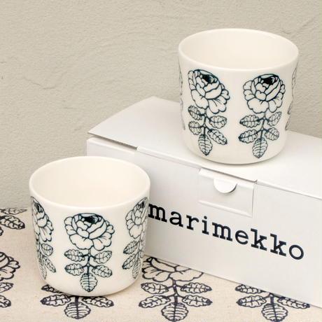 マリメッコ marimekko <Vihkiruusu>コーヒーカップ2個セット(グリーンライン)日本限定