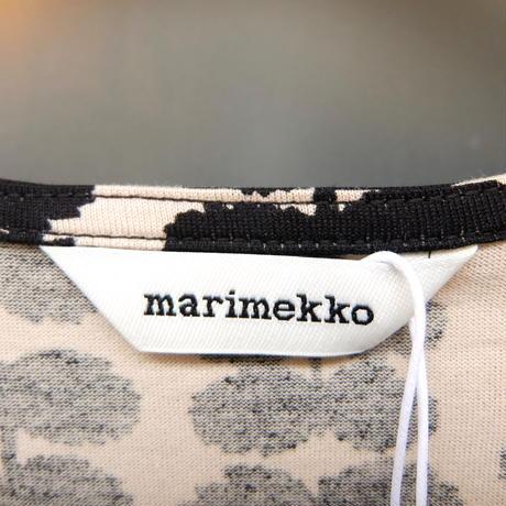 マリメッコ marimekko <Roopertti>七分袖ワンピース(ベージュ×ブラック)大きなサイズ