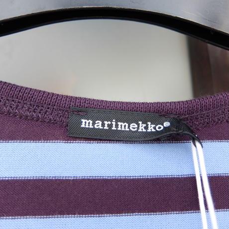 マリメッコ marimekko <Tasaraita>七分袖ワンピース(プラム&ライトブルー)