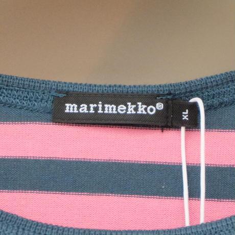 マリメッコ marimekko <Tasaraita>長袖ワンピース(ピンク&ダークグリーン)