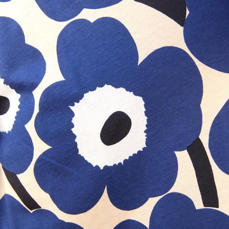 マリメッコ marimekko <Pieni Unikko>七分袖ワンピース(ベージュ×ブルー)大きなサイズ