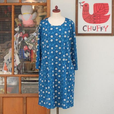 マリメッコ marimekko <Aretta Unikko>七分袖ワンピース(ブルー×ダークブルー)大きなサイズ