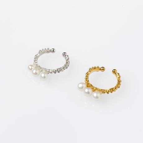 ベビーパール3粒イヤーカフ/ silver