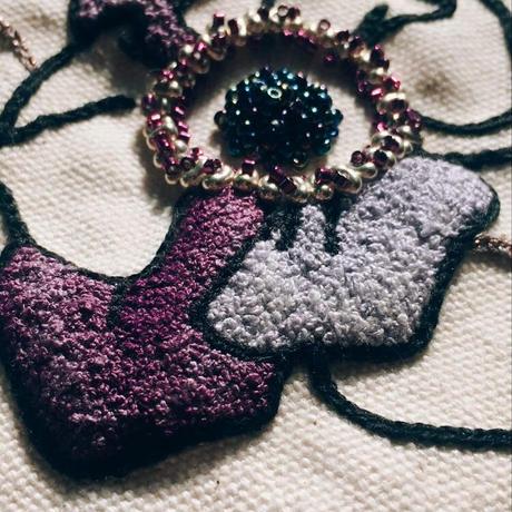 刺繍ポーチ/花