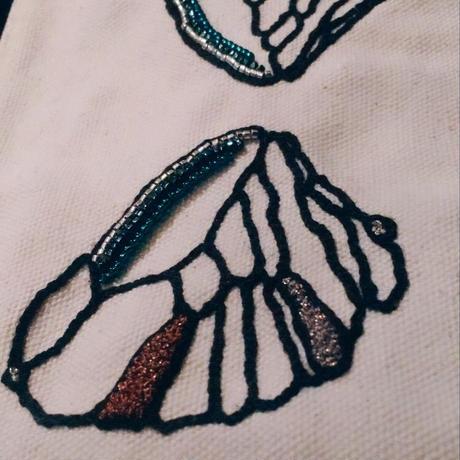 刺繍ポーチ/羽