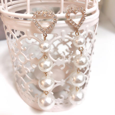 long pearl heart pierce(No.31011)