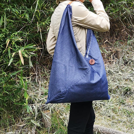 『リサイクルペットボトルデニム』広げて大きなバッグLサイズ ネイビー・ベージュ・グリーン