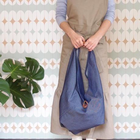 NEW『リサイクルポリデニム』広げて大きなバッグ ネイビー&ベージュ