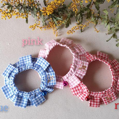 エシカルファッション『オシャ猫ラッフルカラー』ピンク