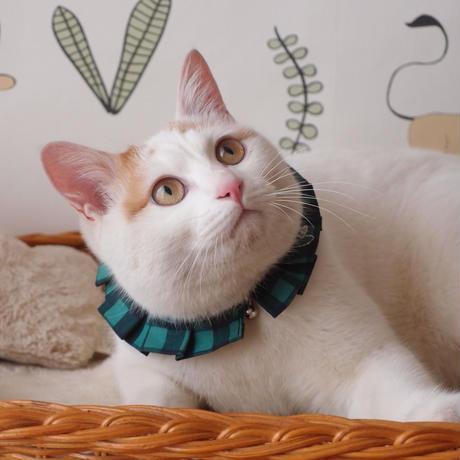 エシカルファッション『オシャ猫ラッフルカラー』グリーン