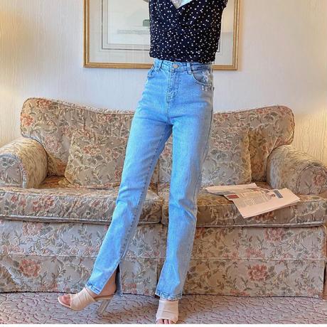 【NEW】side slit denim pants CL015