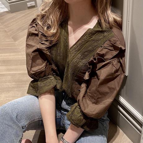 lace ruffle  blouse CL047