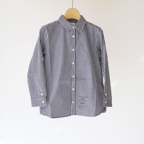 culture shirt CHECK NAVY (highking) 150~160cm