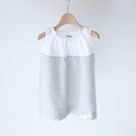 DRESS ALESSA ノースリーブドレス WHITE×GRAY (MAKIE) 2~8Y