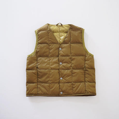 V NECK BTN DOWN VEST BEIGE (TAION) LADIES S、Mサイズ