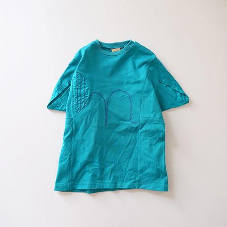 ウフヌフ青の三角袖ワンピース (wafflish waffle) 150cm