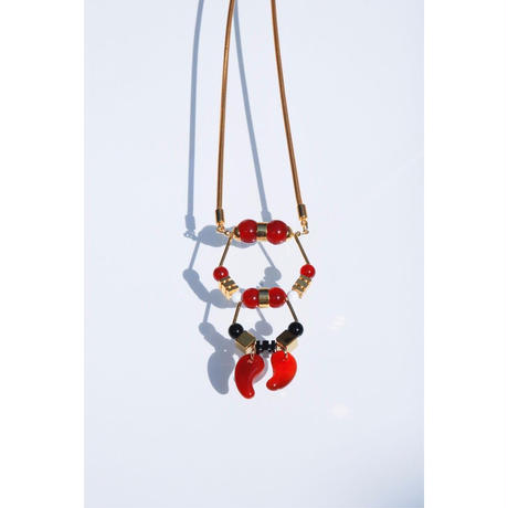 Magatama Twin Necklace  - RED